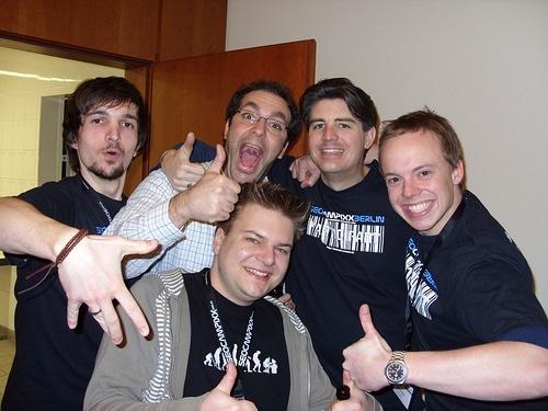v.l.n.r.: Florian, Sepita (CatBirdSeat), Ich, Jens (Telekom) und Frank   auf der Campixx 2009