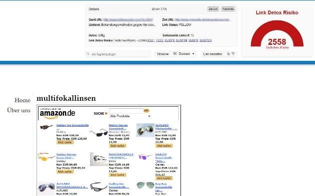 Der Link Detox Screener: Zur Seite, die unten dargestellt wird, sage ich jetzt mal nichts.
