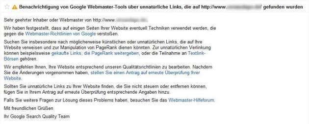 Meldung über unnatürliche Links in Eurem Webmastertools Postfach