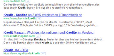 "Das Keyword ""Kredit"" 2011 vs. 2014"