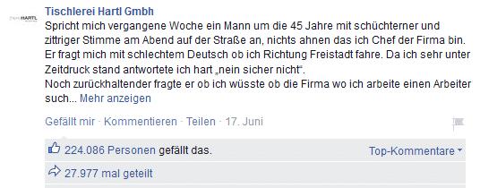 Facebook Post Stories Tischlerei Hartl Österreich