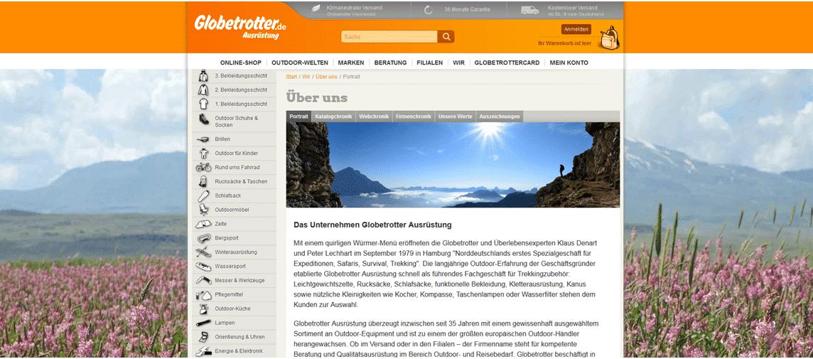Unternehmensseite von Globetrotter