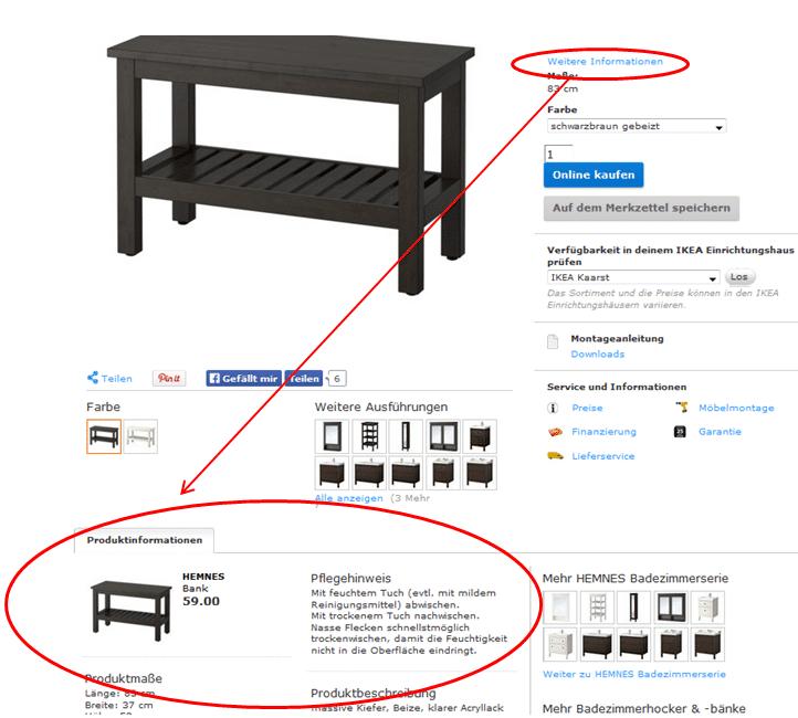 Produktinfos bei Ikea mit Sprungmarkenlink