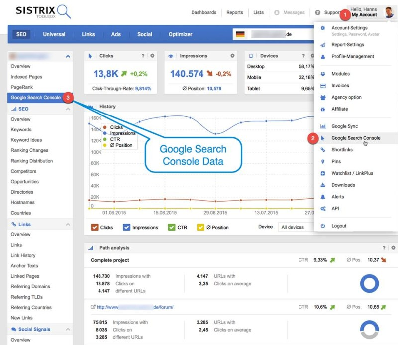 sistrix search console