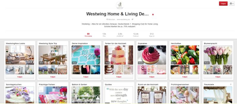Das Beispiel Westwing zeigt: So sieht Pinterest aus, wenn es abwechslungsreich und spannend gestaltet ist.