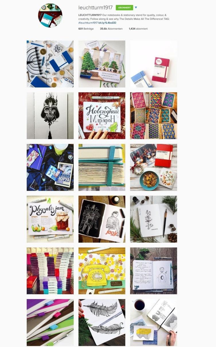 Verschiedene Künstler im Instagram Account von Leuchtturm1917