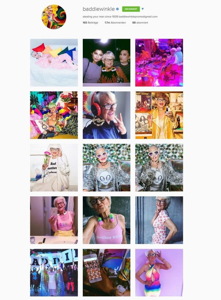 Instagram Account von Baddie Winkle: Bunt und schrill.