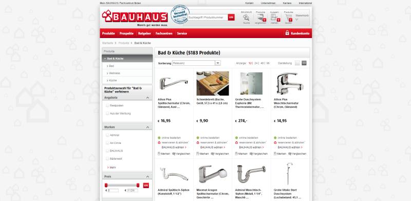 """Verwendung von """"noindex"""" auf paginierten Seiten am Beispiel von Bauhaus."""