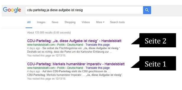 Screenshot der Google Suchergebnisse.
