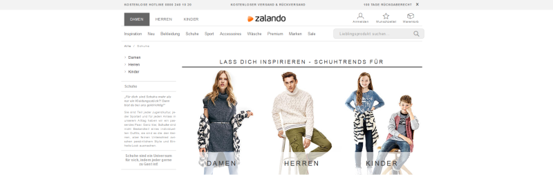 Verwendung von Parametern bei paginierten Seiten am Beispiel von Zalando.