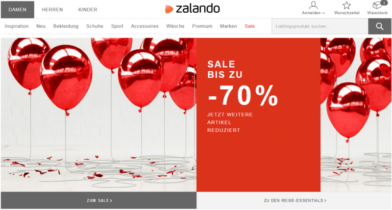 Zalando-Startseiten-Banner mit Klickreiz