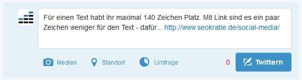 Text: 116 Zeichen – Tweet insgesamt mit Link: 147 Zeichen