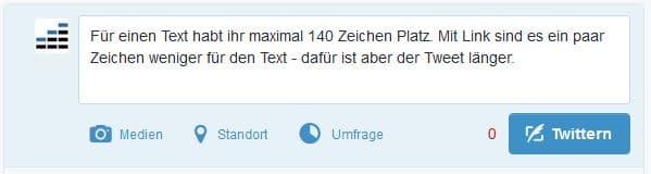 Tweet mit Text: maximal 140 Zeichen