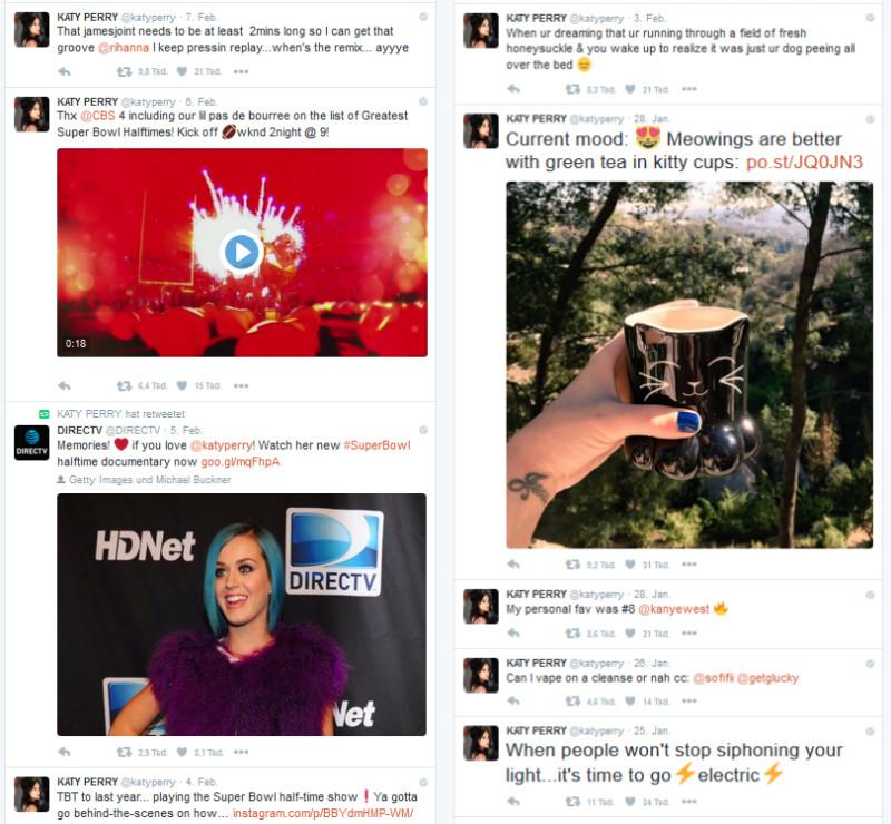 Twitter-Queen Katy Perry: Interaktion mit anderen Nutzern, Retweets, Emoticons, Bezug auf aktuelle Events und exklusive Inhalte für Twitter. That`s it.