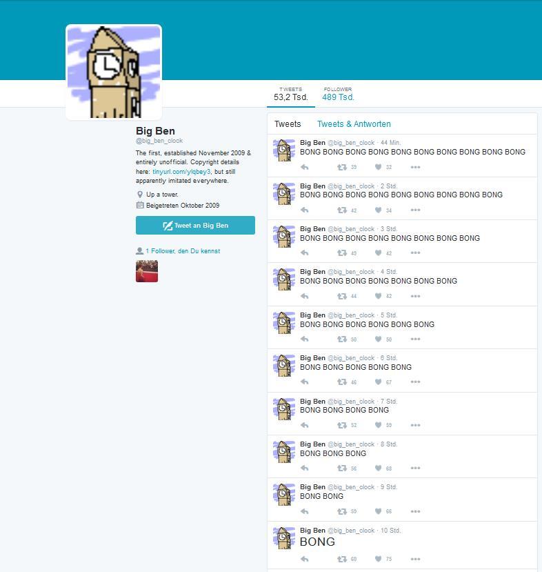 Der Gipfel der Sinnlosigkeit: Der Account @big_ben_clock Postet jede Stunde die Glockenschläge. Julian folgt diesem Account seit über sechs Jahren – verrätst du uns, was dir daran gefällt, Julian?