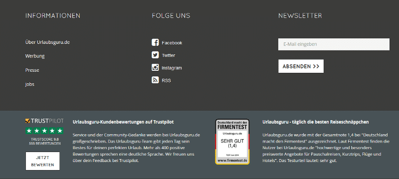 gut strukturierter Footer einer Website