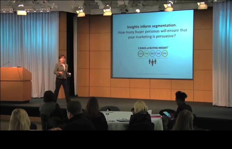Vortrag: Adele Revella vom Buyer Persona Institute über Anzahl Personas.