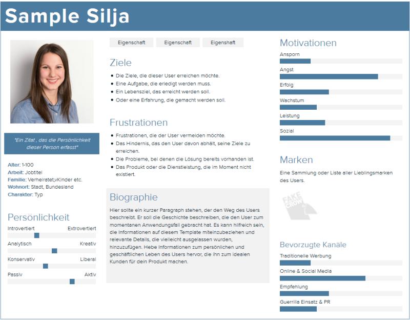 Beispiel Buyer Persona erstellt mit Xtensio.