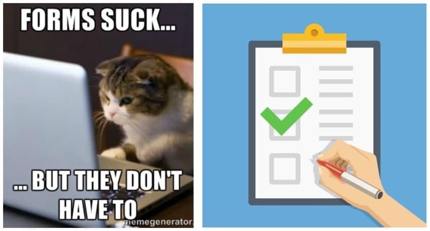 Katze vorm PC und übersichtliches Formular