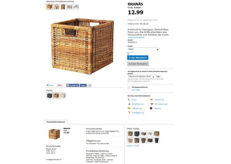 Screenshot einer Produktseite von Ikea.com