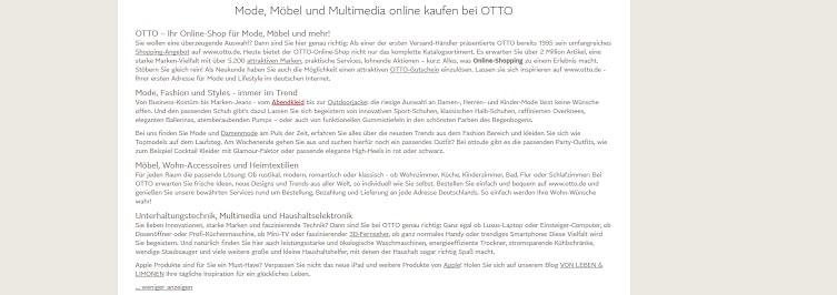 Screenshot von Text auf Otto.de.