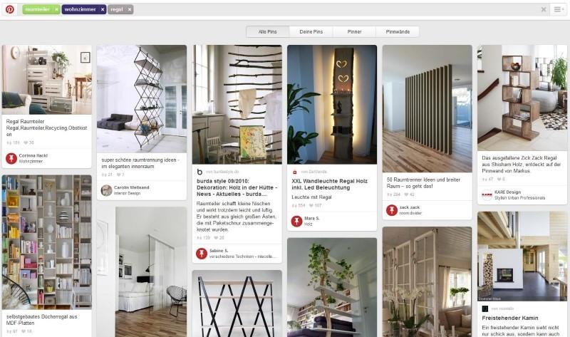Wer auf Pinterest nach einem Raumteiler sucht, hat eventuell schon konkrete Kaufabsichten – und findet bei der Suche nach Ideen direkt Ergebnisse von Shops.