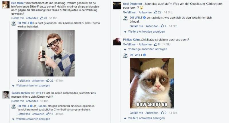 Die Welt nimmt Kritik auf ihrer Facebook-Seite mit Humor.
