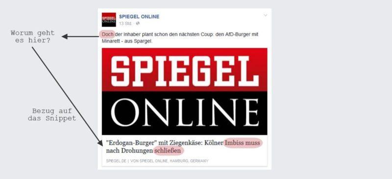 Spiegel Online beginnt den Teaser häufig mit einem Bezug auf das Snippet - der Leser hat dabei das Gefühl, als wären die Sätze vertauscht worden.
