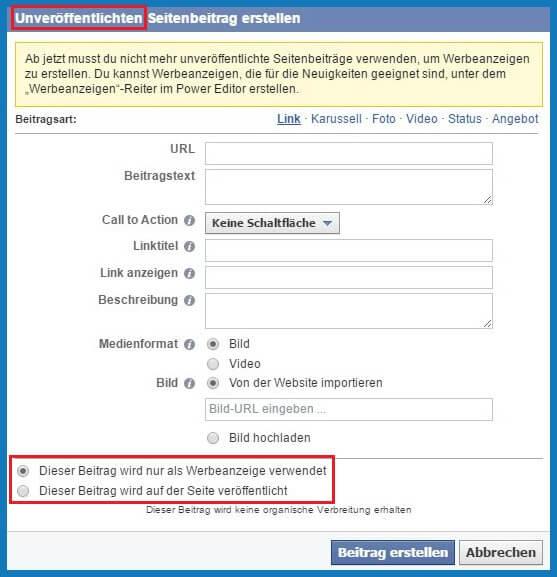 Facebook Business Manager: Unveröffentlichten Seitenbeitrag erstellen