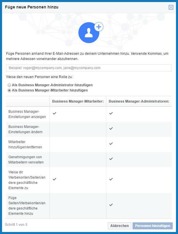 Business Manager: Personen hinzufügen