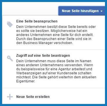 Facebook Business Manager: Seite hinzufügen