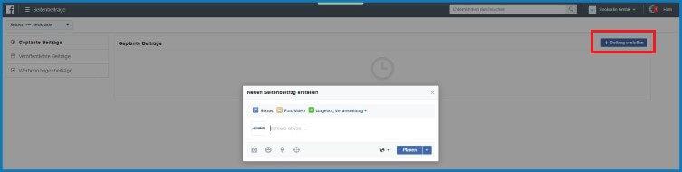 Facebook Business Manager: Geplante Beiträge - Beitrag erstellen