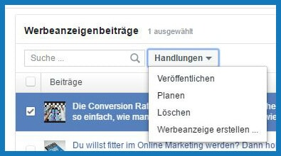 Facebook Business Manager: Werbeanzeigenbeiträge - Handlungen