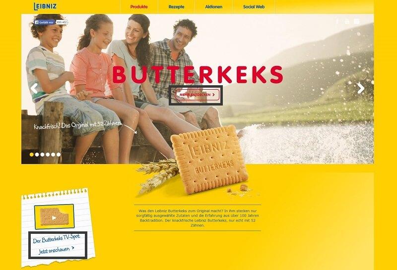 Landingpage von Leibniz Butterkeks mit CTAs