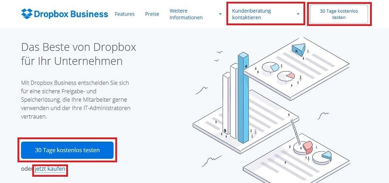 CTAs in unterschiedlichem Design auf der Landingpage Dropbox Business