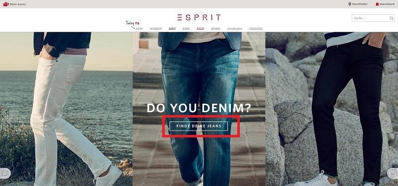 Call-to-Action bei Esprit.de