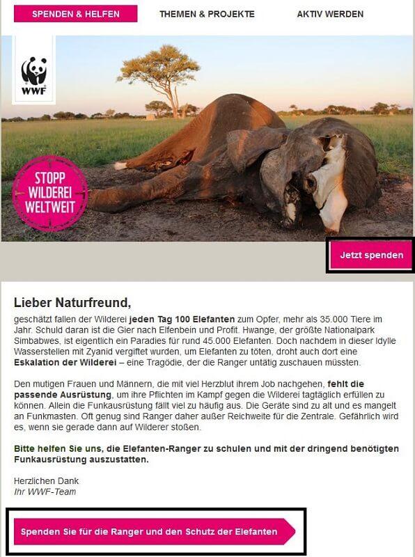Mailing des WWF mit auffälligen CTAs