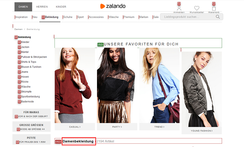 Zalando-Damenbekleidung-Landingpage