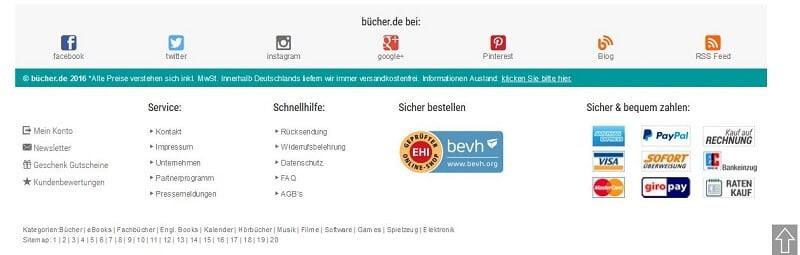 Footer von Buecher.de
