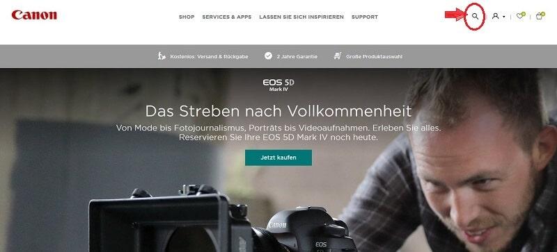 Lupensymbol auf canon.de