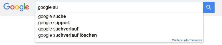 Vorschläge zu Suchbegriffen bei Google