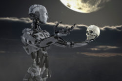 Android with human skull in his hand, posing like in a scene of Shakespeares Hamlet. Rendered with DOF. Adobe RGB.