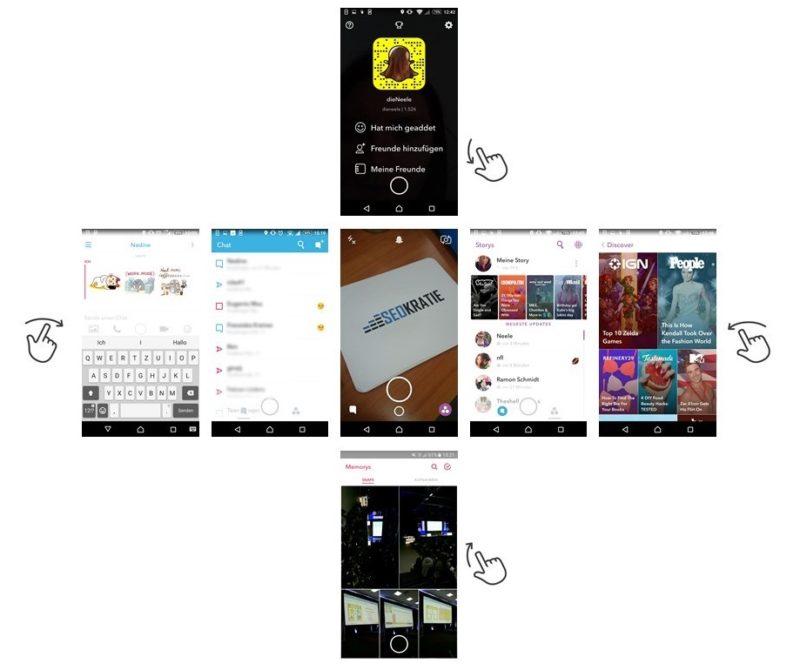 Erstellen von Snaps in Snapchat. Wie die bunten Bildchen auf den Snap gelangen, erfahrt Ihr weiter unten.