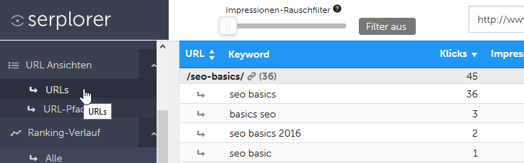 keywords nach urls im serplorer