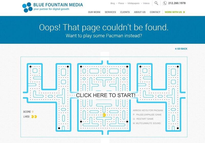 kreativ gestaltete 404 Fehler-Seite