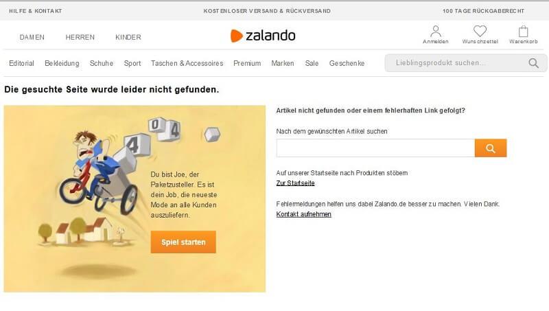 404-Seite von Zalando
