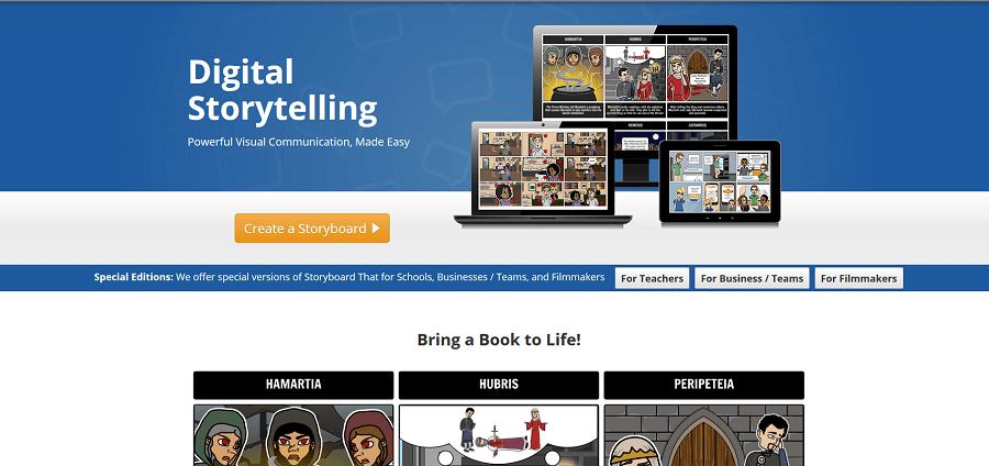 Mit StoryboardThat ein eigenes Storyboard erstellen.