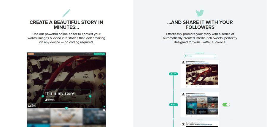 Mit Shorthand Social einfach und schnell Storys für Twitter erstellen.