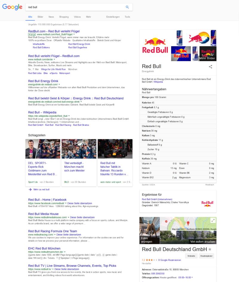Beweisstück 4: Die Suchergebnisse für Red Bull. An 5. Stelle rankt die Facebook-Seite von Red Bull.