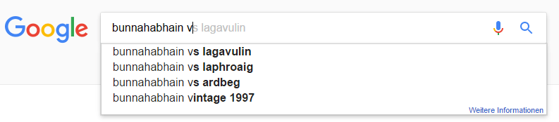 bunnahabhain google suggest
